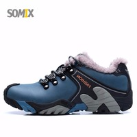 Somix Brand Men Hiking Shoes 2017 Genuine Leather Plush Winter Sneakers Waterproof Shoes Men Keep Warm Outdoor Walking Shoes Men
