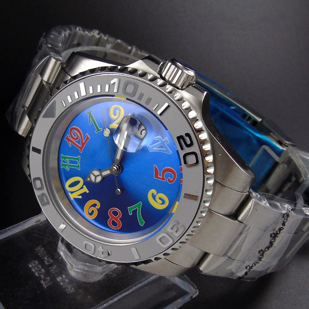 Nologo Watch Dial Automatic Men s Watch Ceremic Bezel 40mm Time Watch Auto Date SS Strap