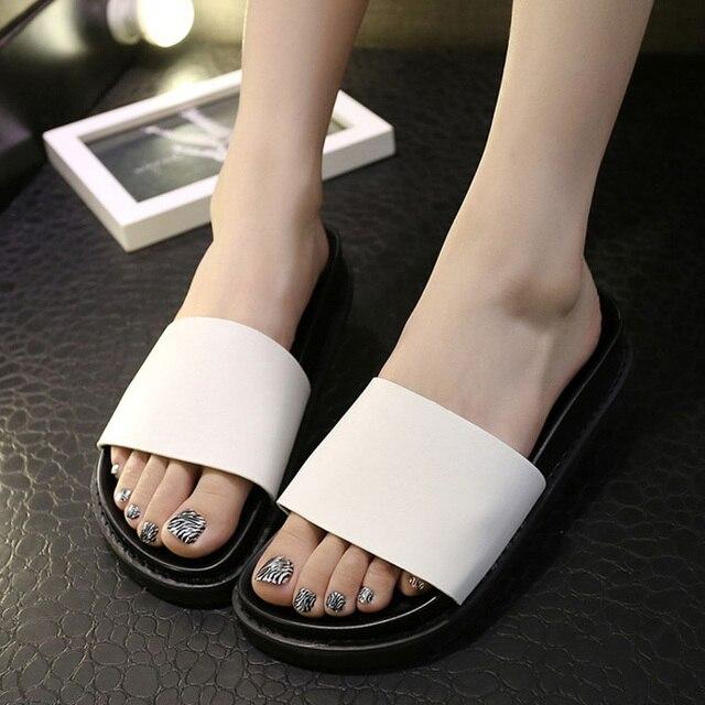 Hot Sale Platform Shoes Women Open Toe Slippers Casual Beach Slides Ladies  Shoes Bath Shower Sandals Size 36-39 17761ba958