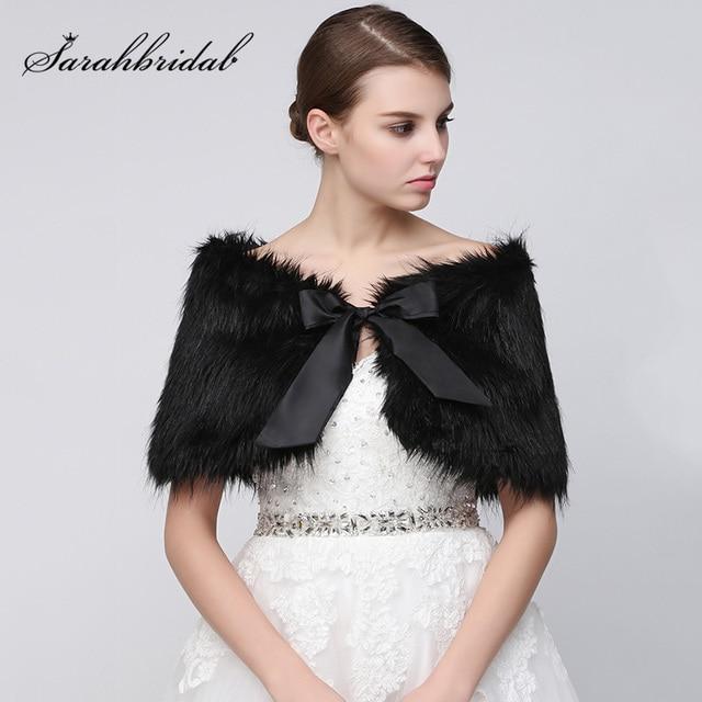 adf0b66a41ebd 在庫の結婚式のブライダルラップ2018黒フェイクファーボレロ冬花嫁ウェディングショール
