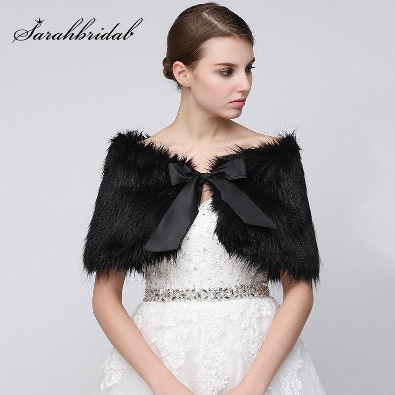 798cd0417 En Stock Boda nupcial envuelve 2018 negro Faux fur bolero invierno novia  boda chales con arco accesorios de boda 17001