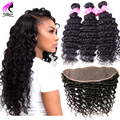 Brazilian Virgin Hair Deep Wave With Closure 7A Lace Frontal Closure With Bundles Deep Wave 3 Bundles Human Hair With Closure