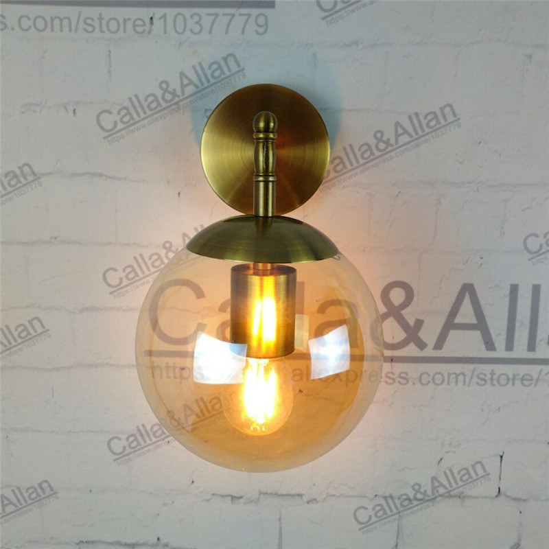 цены на white/black/antique brass finished iron amber glass ball shade goose neck wall lamp fixture with bulb D150mm globe light fixture в интернет-магазинах