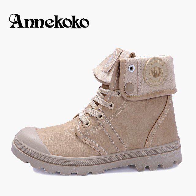 Mens Waterproof Military Leather Boots 2017 Canvas Ankle Boot Winter Breathable&Skid Snow Boots Botas Feminina Outono InvernoZ09