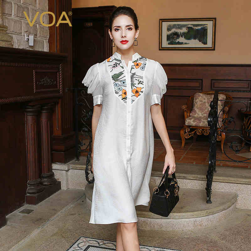 VOA 2017 Autumn Puff Sleeve White Silk Jacquard Shirt Chinese Style Embroidered Long Blouse Plus Size Loose Women Tops BLA00301