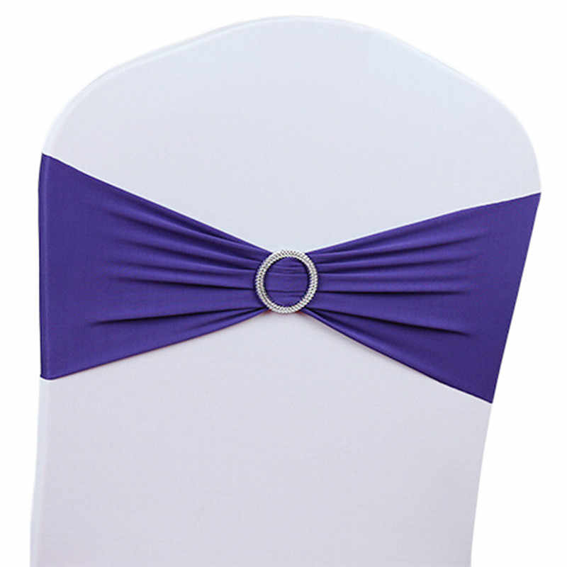 50pcs/Lot Spandex Stretch Wedding Chair Cover Band With Buckle Slider Sashes For Wedding Decor Bow Knot Banquet Decorations