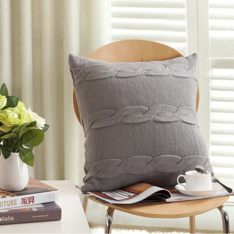 Christmas Gift Gray Square Pillows Case Solid Knitted Buttons Cushion Cover Soft Covers Home Textile Size