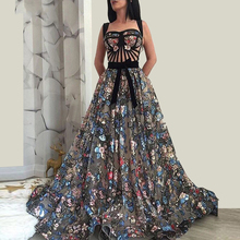 EVERFEAG Long Embroidery Sequin Lace Elegant Floor Length