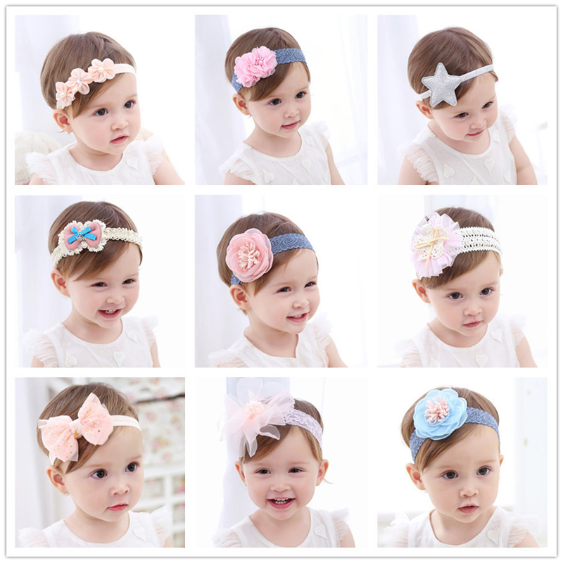 купить Fashion Newborn Toddler Headband Children's Cute Hair Accessories Baby Band Lace Pentagram Flowers Girl Elastic bands Headwear недорого