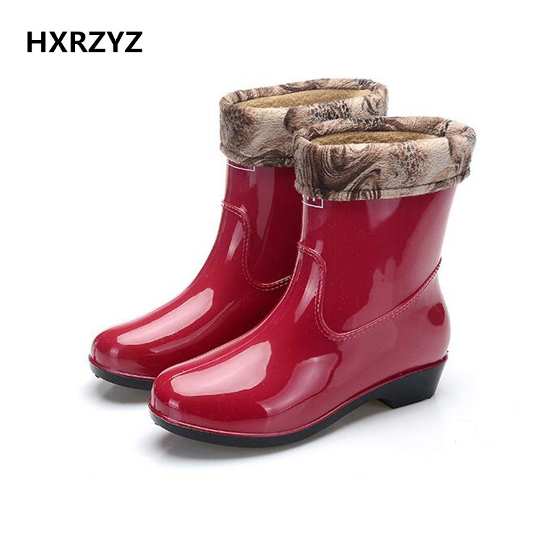 water shoes spring/autumn new fashion rain boots warm spring ladies and ankle rubber boots green and red women rain shoes  water shoes spring and autumn woman warm rain shoes and ankle rain boots lady waterproof fashion rubber boots