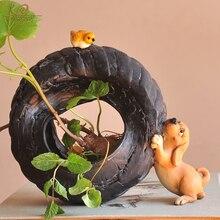 Pot de fleurs décoratif en chien mignon, Collection quotidienne, animaux décoratifs succulents, plantes vertes artificielles, décoration de jardin féerique pour la maison moderne