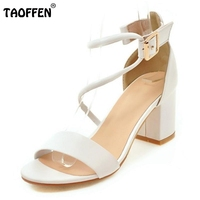 TAOFFEN Women Shoes Women Sandals Trend Fashion Casual Summer Shoes Thin Belt Square Heels Party Shopping