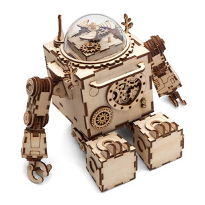 Image 2 - Robotime DIY Wooden Clockwork Music Box Creative Robots Rabbit House Boat Table Decoration Gifts For Kids Boyfriend AM