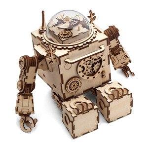 Image 2 - Robotime diy caixa de música relógio de madeira robôs criativos casa coelho barco mesa decoração presentes para crianças namorado am