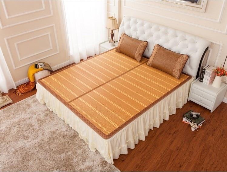 Musim panas dingin tikar dua sisi lipat pembungkus 1.5/1.8 bambu tikar