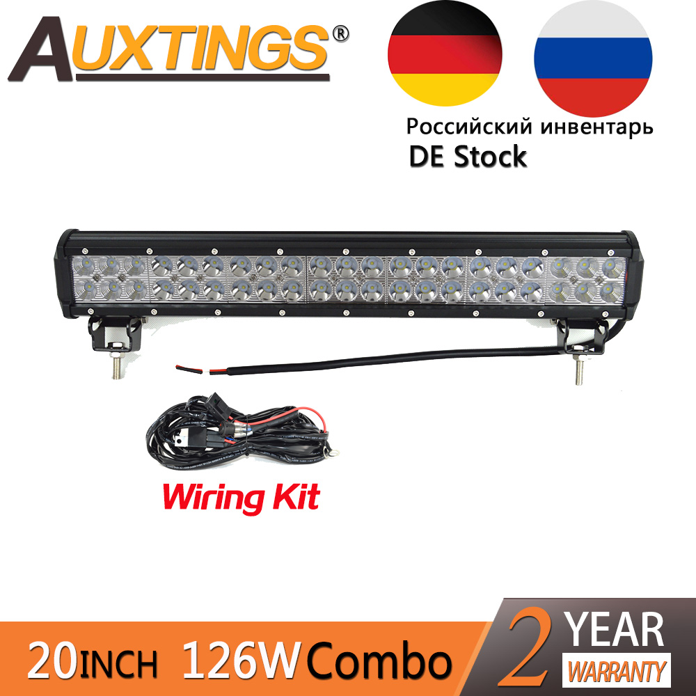 Auxtings LED 20inch 126w Dual Rows Waterproof CE RoHS Combo Beam Straight Car LED Light Bar Offroad 4x4 Worklight with Wiring