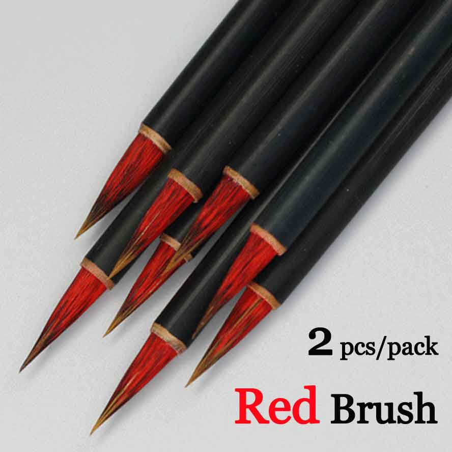 Paint Brushes Brave 2pcs/pack Red Chinese Calligraphy Brush Writing Brush Pen Ink Brush For Regular Script Small Characters Painting Brush Painting Supplies