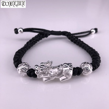 Handmade 999 Silver Pixiu Bracelet 3D Silver Wealth Pixiu Beaded Bracelet Braided Bracelet Good Luck Jewelry handmade 999 silver dragon bracelet pure silver power dragon beads bracelet good luck bracelet