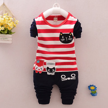 0-5 Ages 2016 Spring Top Casual Kids Suits Cute Cat Striped Tshirt + Pants Children Boy Girl Suits Cotton 2colors Kids Clothes