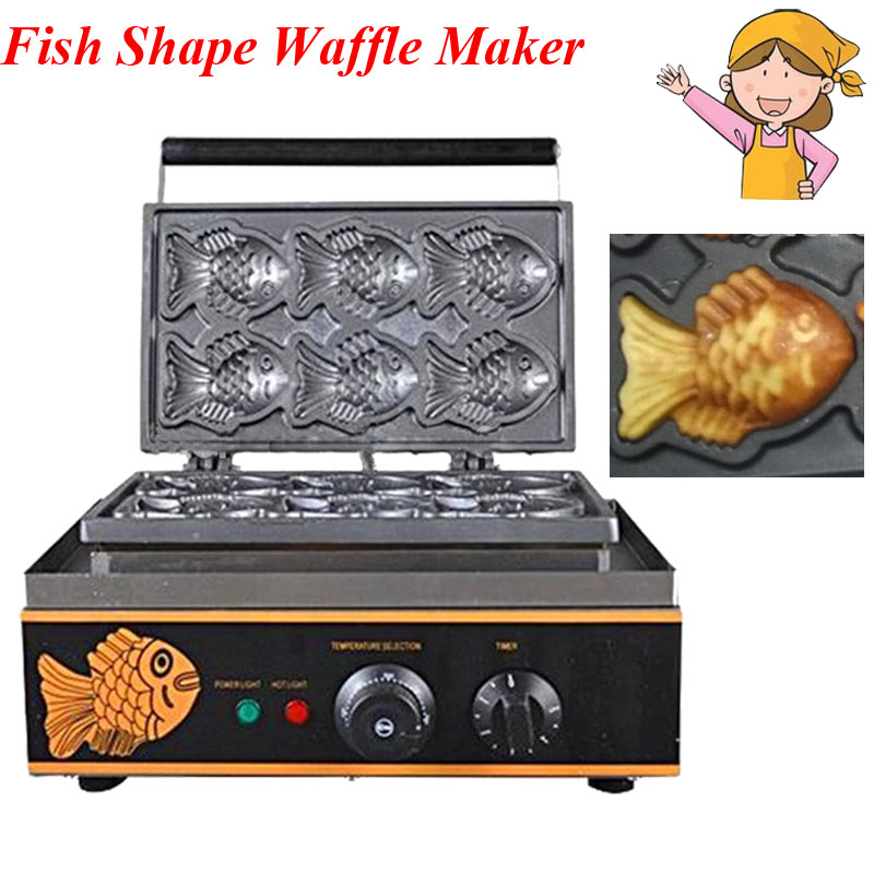 1pc Korea Fish Shape Waffle Cake Maker Machine Electrothermal Snack Equipment Baking Machine FY-112
