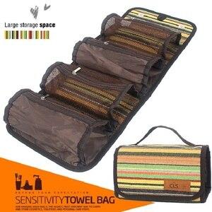Image 3 - Outdoor camping tragbare wash bag travel kosmetik tasche folk stil finishing tasche lagerung tasche hängen tasche mode handtaschen