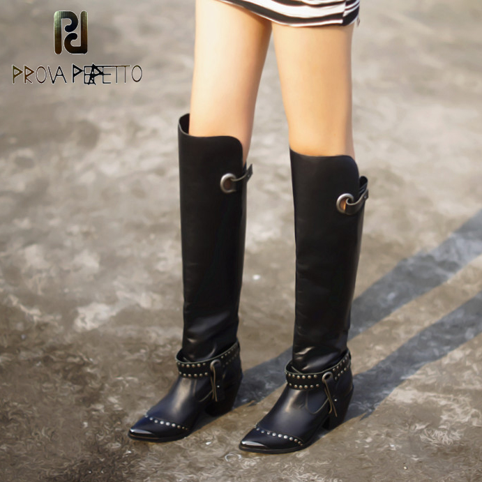 Prova Perfetto Rivet Pointed Toe Women Thigh High Boots Genuine Leather Over the Knee Boots Autumn Winter Chunky High Heel Boots prova perfetto autumn winter new genuine leather low heel women mid calf boots round toe thick bottom comfortable martin boots