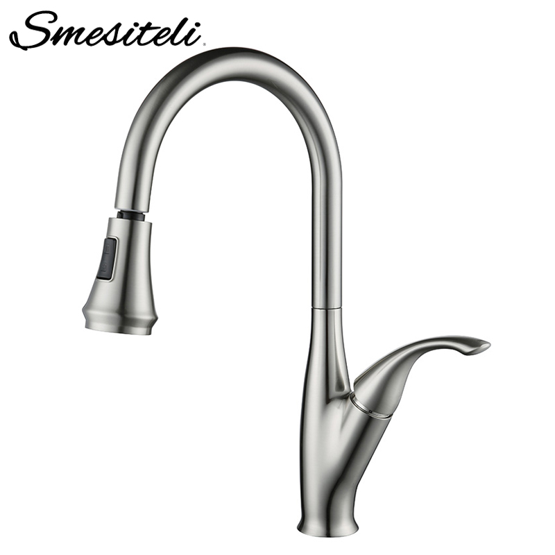 Smesiteli Kitchen Faucet Single Handle Brass Brushed Nickel Kitchen Sink Faucet Pull Out Rotation Spray Mixer Tap Faucet