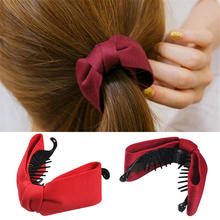 Korean Sweet Fabric Bow Hair Claw Elegant Women Solid Cloth Ties Banana Crab Clips Ponytail Hold Girl Accessories