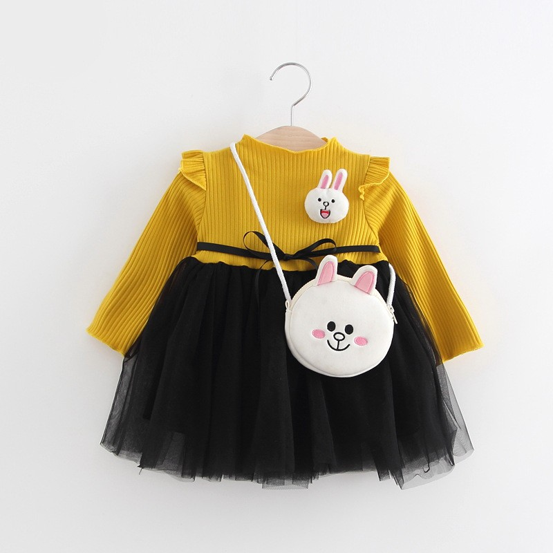 2018 New 2018 Spring Autumn Baby Girl Dress Cotton Mesh Patchwork Princess Girl Dress Long Sleeve Toddler Kids Dresses for Girls