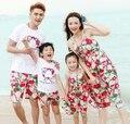 Лето семья костюмы одежда свободного покроя цветок женщина девушки красный жилет платье мальчиков устанавливает