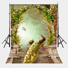 150x220cm Artist Beautiful Garden Backdrop Coupled Pretty Peacocks in the Full of Spring Photography Background