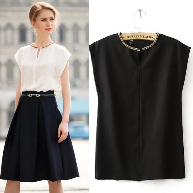 Summer 2018 White Chiffon Blouse Shirt Black Blouse Top Shirt Womens