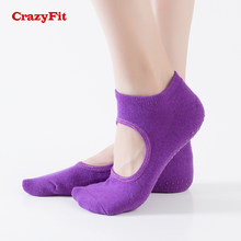 CrazyFit Professionelle Yoga Socken Anti-slip Toeless 2018 Open Back Hausschuhe Baumwolle Frauen Rutschfeste Gym Fitness Sport Pilates socke(China)
