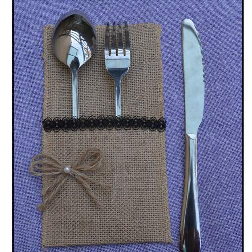 product Hessian Cutlery Holder Bag Wedding Party Tabel Decorations Black Lace Bow Tie Burlap Utensil Knife and fork Pocket