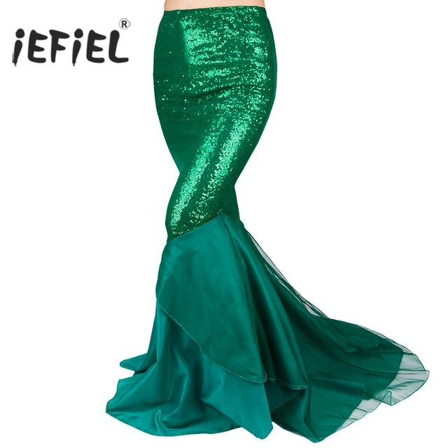 IEFiEL אלגנטי נשים גבירותיי נצנצים בת ים זנב חצאית צילום תלבושות Vestidos קיץ מקסי חצאית ללילה מפלגה