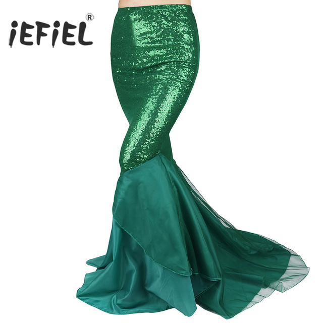 IEFiEL אלגנטי חצאיות נשים גבירותיי נצנצים בת ים זנב חצאית צילום תלבושות Vestidos מפואר מקסי חצאית ללילה מפלגה