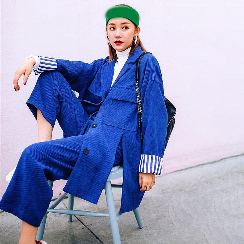 LANMREM 2020 New Fashion Notched Full Sleeve Big Size Blazer Wide Leg Pants Female's Two Pieces Set Vestido YE649
