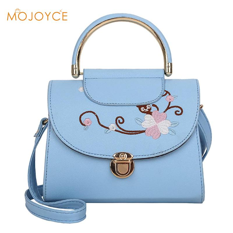 Flowers Embroidery Women Crossbody Bag High Quality PU Leather Messenger Bag for Girl Shoulder Casual Top-Handle Bags Fashion все цены