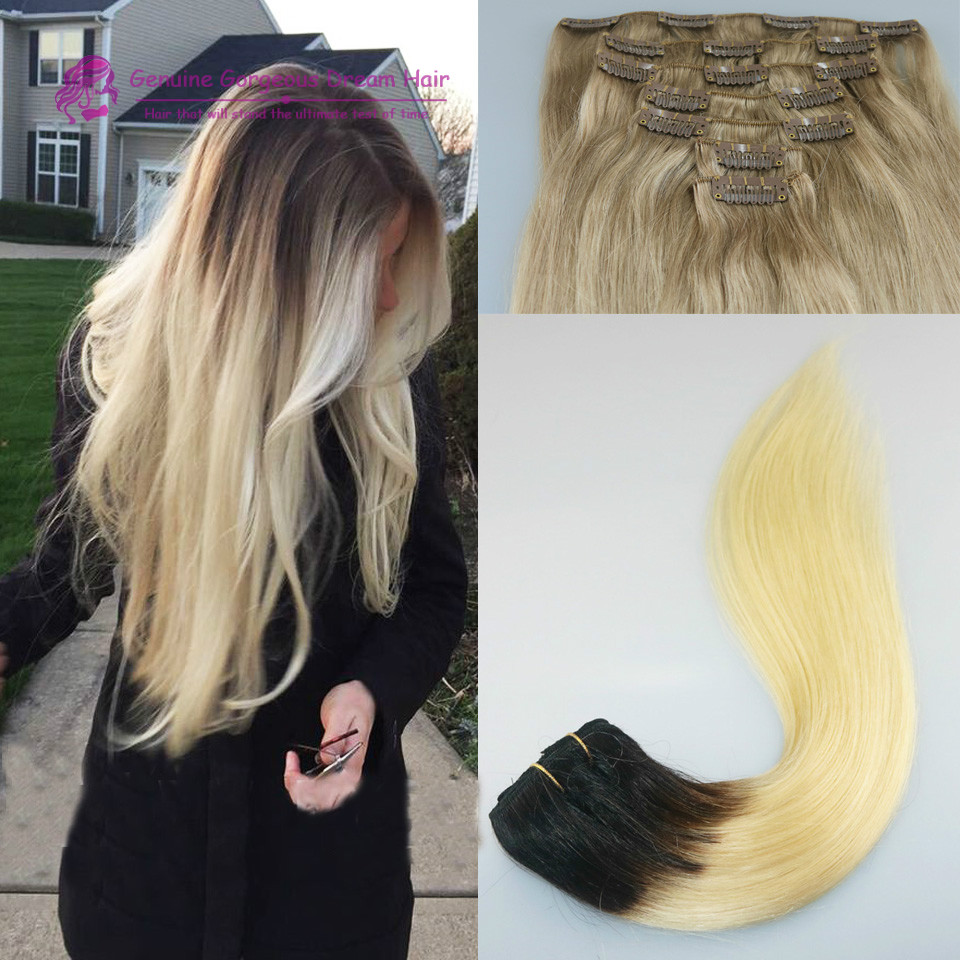 #1B/613 Ombre Blonde Remy Extensions 8A Grade Virgin Unprocessed Human Hair Ombre Clip in Hair Extensions