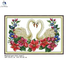 Joy Sunday Two Swans Patterns DIY Hand Cross Stitch Kits Printed Canvas DMC 14CT 11CT Counted Embroidery Needlework Home Decor