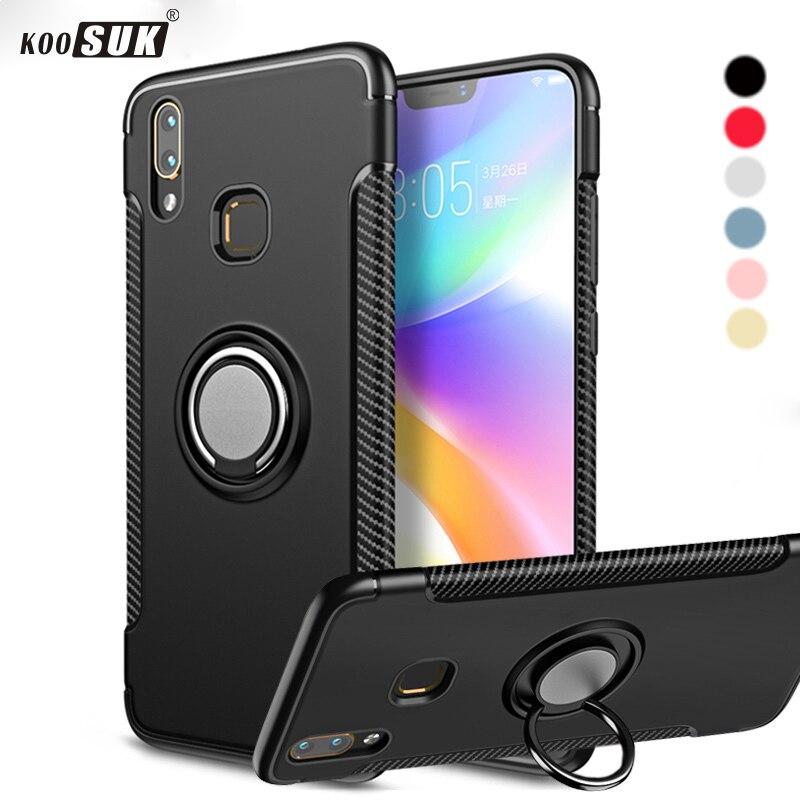 V9 Case For VIVO V9 youth Cover Armor 360 Full Protection Ring Magnetism Holder Shockproof TPU+PC Cases sFor V9 Car Phone Coque