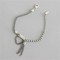 Korea Original Fashion Bracelet For Women High Quality Jewelry Sterling Silver S925 vintage Geometry Party Card Tassel Bracelets