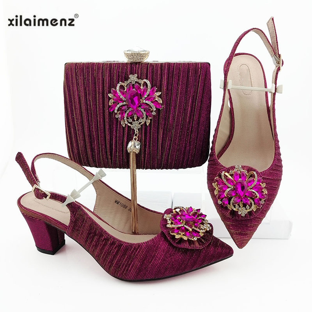 Gold Italian Sandals with Matching Bag for Woman Pointed Toe Shoes and Purse Set High Quality African Wedding Pumps