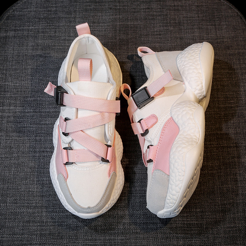 Detail Feedback Questions about Kjstyrka Korean Style Branded White and  pink Women Sneakers Flat Thick Heels ladies autumn shoes woman designer on  ... 96ac790ee65f
