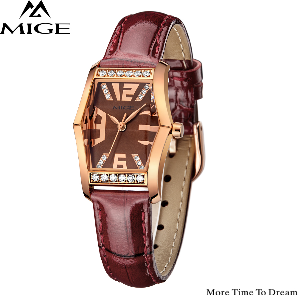 Freeshipping Mige Real Hot Sale Rose pink Buckle Women Watches 2017 Luxury Leather Wristwatches Casual Fashion Waterproof Watch mige 2017 new hot sale lover man watch rose gold case white casual ultrathin waterproof relogio masculino quartz mans watches