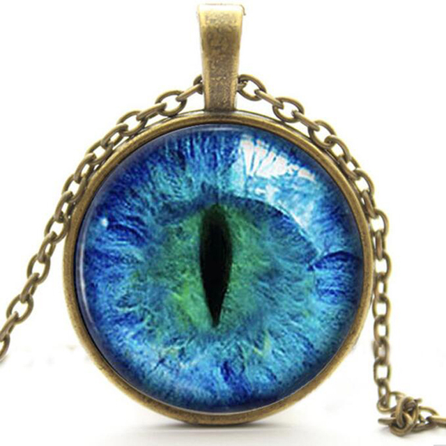 Blue Green Cat Eye Necklace Pendant Various Colours
