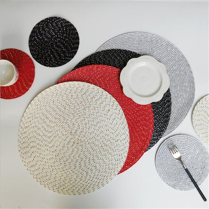 diam18/36cm Round Dining Table Mats Non-slip Table Placemat Thickened Insulated Meal Mat For Home Kitchen Accessories