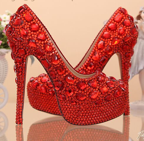 Women Pumps Aesthetic Red Rhinestone Wedding Shoes High Heels Thin
