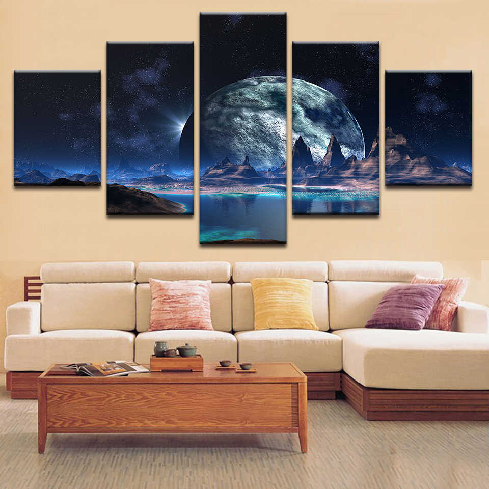 Framework Canvas Poster Wall Art Mountain Landscape Children'S Room Painting Planet HD Printed Pictures Modular Decoration