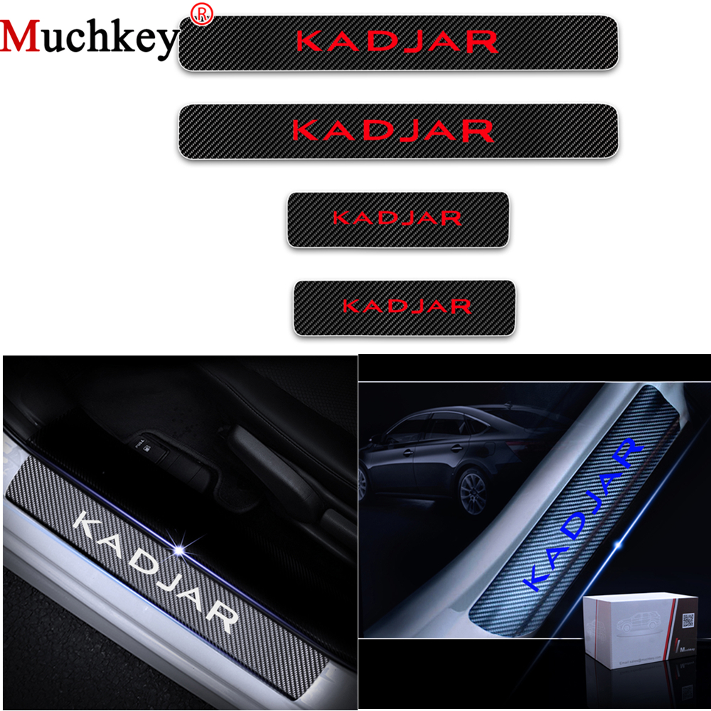 For Renault KADJAR Carbon Fiber Vinyl Stickers Car Door Sills Welcome Pedal Door Threshold Plate Interior Car Accessories 4Pcs